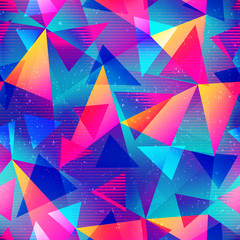 Rainbow color triangle seamless pattern
