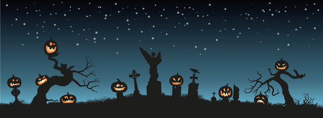 Holiday Halloween. Black silhouettes of pumpkins on the cemetery on night sky background. Graveyard and broken trees