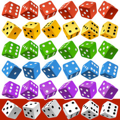 Vector Casino Dice Set of Authentic Icons. Red, Yellow, Green, Blue, Purple and White Poker Cubes Isolated on Background. 3d Board Game Pieces