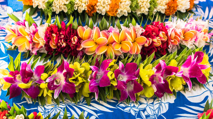 Garlands of flowers in French Polynesia, traditional flowers crowns