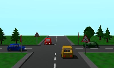Straßenkreuzung: Rechts vor links Regelung mit vier Autos und Schildern