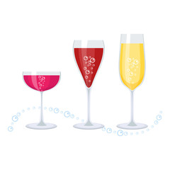 set of champagne glasses