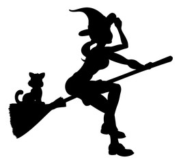 Silhouette Halloween Witch Flying On Broomstick