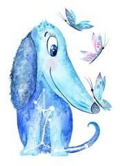 Watercolor Blue Dog Illustration