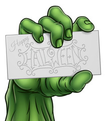 Zombie Monster Hand Holding Happy Halloween Sign