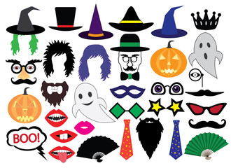 Halloween, set of icons, vector