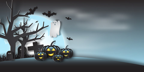 Paper art of halloween party with ghost in full moon,night,light,vector,illustration