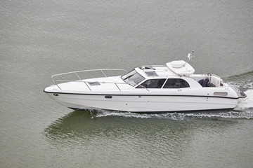 Printed roller blinds Water Motor sports Yacht on the sea. Finland lakes. Recreational activity.