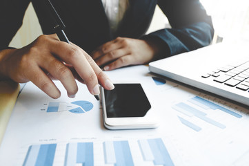 business woman using digital mobile smart phone