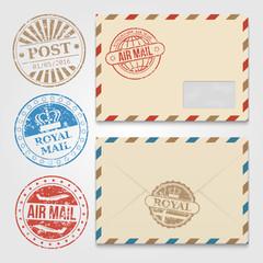 Vintage envelopes template with grunge postal stamps