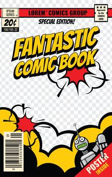 Comic book cover vector template