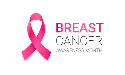 Breast cancer awareness month symbol emblem with vector pink ribbon sign. Vector support awareness icon on white background.