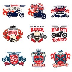 Motorcycle speed racing retro painting vector bagges and motorbike emblems