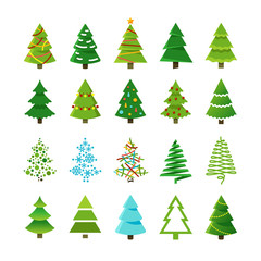 Cartoon abstract christmas trees with gifts and balls vector set