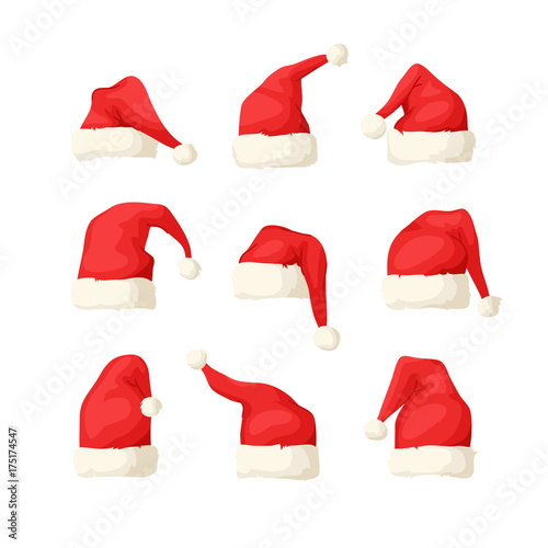 134efae25d1 Hand drawn set of Christmas hats on white background. Cartoon drawing.  Vector art illustration