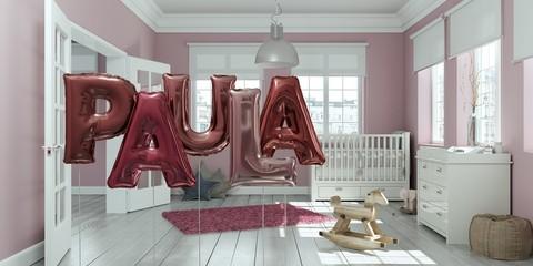 Name Paula Luftballons im Kinderzimmer