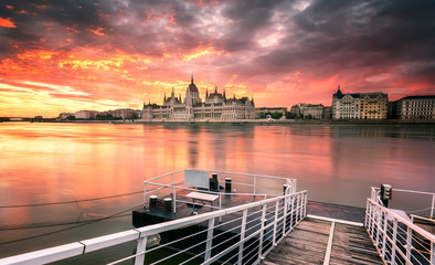 Budapest Parliament at sunrise /