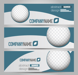 Banner template. Abstract background for design,  business, education, advertisement.  Blue color. Vector  illustration.