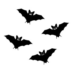 Halloween flying bats isolated on white background. Scary eyes vampire vector bat. Bat silhouettes - Halloween vector illustration
