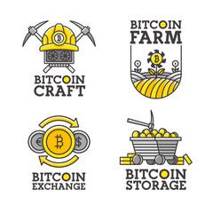 Big set logo, emblem, label. Theme Bitcoin. Vector illustration.