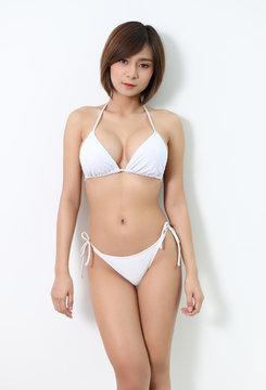 white bikini woman