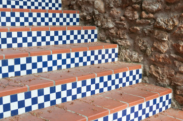 staircase with steps with blue squares