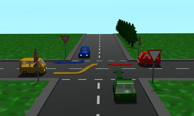 Straßenkreuzung mit den Schildern Vorfahrt und Vorfahrt gewähren und Richtungspfeilen