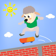 sheep the skateboarder, vector cartoon illustration