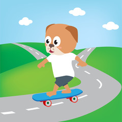 dog playing skate board, vector cartoon illustration