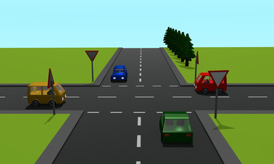 Straßenkreuzung mit den Schildern Vorfahrt und Vorfahrt gewähren