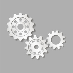 Set of gears with shadow. Vector illustration.