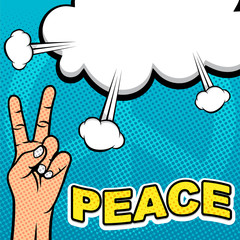 Hand With Peace Sign in Pop Art Template Background
