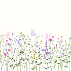 seamless floral border with meadow flowers and buttwerflies