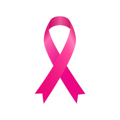 Pink ribbon breast cancer awareness symbol isolated on white background. Vector illustration