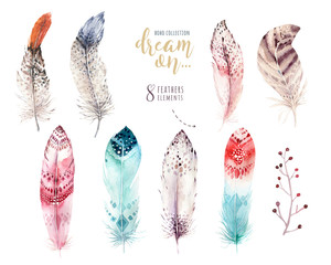 Hand drawn watercolor paintings vibrant feather set. Boho style wings. illustration isolated on white. Bird fly design for T-shirt, invitation, wedding card. Rustic Owl decoration