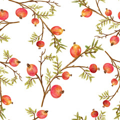 Seamless watercolor pomegranate pattern, botanical background, branch with green leaves and fruits.