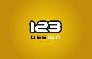 123 number numeral digit white on yellow background Wall mural