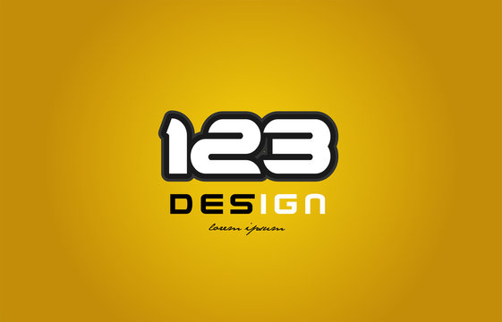 123 number numeral digit white on yellow background
