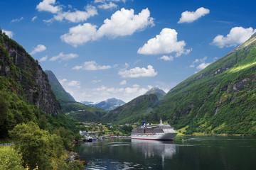Garden Poster Scandinavia Cruise liner in Norway fjord