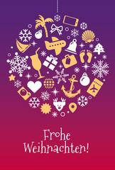 Weihnachtskarte Reisebüro mit Kugel aus kleinen Weihnachtssymbolen und Reisesymbolen