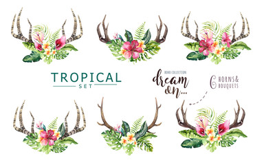Hand drawn watercolor deer horns with tropical flower bouquets. Exotic palm leaves, jungle tree, brazil tropic botany flowers and cow skull. Aloha collection.