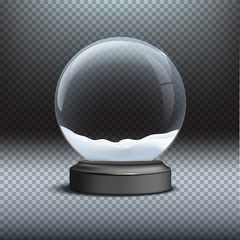 Snow globe template. Empty glass snow globe on transparent background. Vector Christmas and New Year design element.