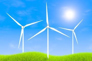 Wind farm technologies green grass landscape background 3d illustration