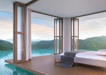 Pool villa bedroom with mountain view 3d rendering image.The bedroom floats above the pool. Inside is a wooden floor the doors are open on all sides. Touch nature closely.