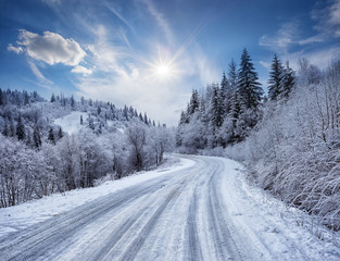 Road in the mountains covered with snow