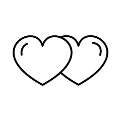 love hearts vector line icon, sign, illustration on white background, editable strokes