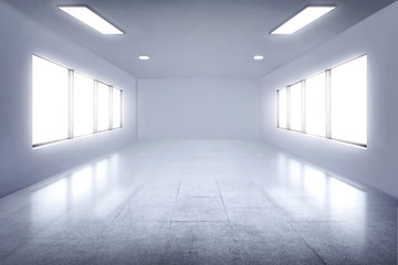Empty white room with lamps and window