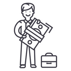 man with big money and suitcase vector line icon, sign, illustration on white background, editable strokes