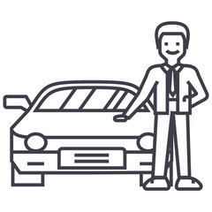 man with new car,auto dealership,buying a vehicle vector line icon, sign, illustration on white background, editable strokes