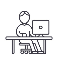 man working at computer at table vector line icon, sign, illustration on white background, editable strokes